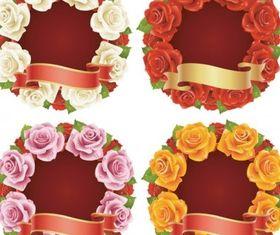 Rose and ribbon vectors graphics