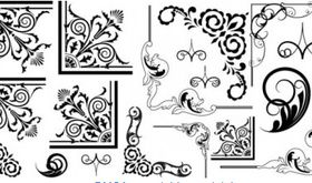 Fine pattern corner 03 set vector