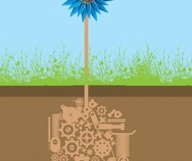 Mechanical flower vector