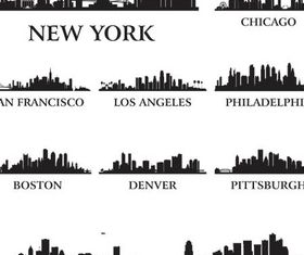 Silhouettes Skyline Cityscapes 4 set vector