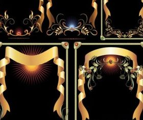 golden ribbon pattern design vector
