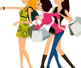 Women fashion shopping Free vectors material
