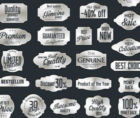 Silver Sale Labels 3 set vector