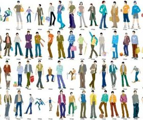 men fashion models vectors material