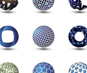 Spheres Abstract Logotypes vector graphics
