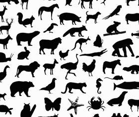 Silhouettes Wild Animals vector set