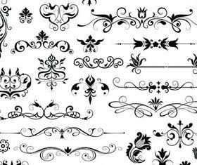 Ornamental Floral Elements 9 vector set