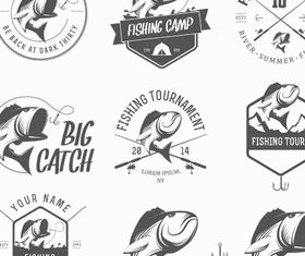 Black Seafood Labels design vectors