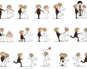 Cartoon style wedding elements vectors