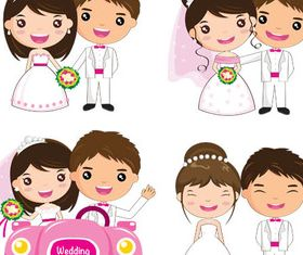 Wedding Cartoon Couples vector