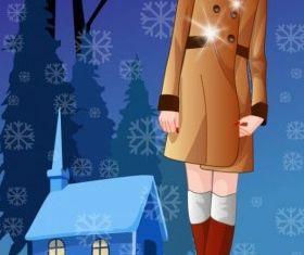winter women Vector 7 vector