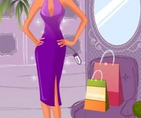 Fashion women shopping 1 vector