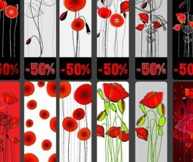 Topic discount tag flowers set vector