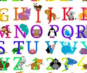 Alphabets with Animals design vectors