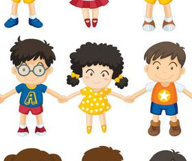 Cartoon Children Mix 7 vectors graphics