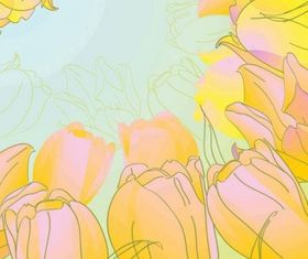Handpainted tulips shiny vector