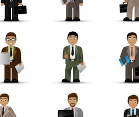 Cartoon Business People 8 set vector