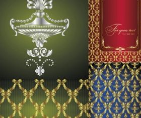 Exquisite european fabric background set vector