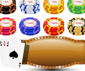 Casino Elements Set design vector