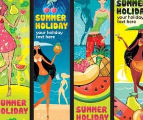 Summer female fruit theme banner vectors graphics