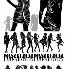 girl black and white silhouette Illustration vector