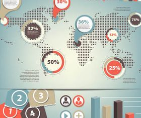 Infographics with World Map 7 vector