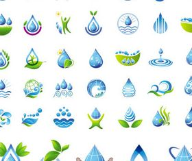 Water Drops Logotypes set vector