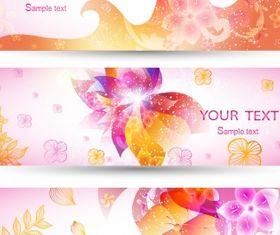Romantic pink banner set vectors