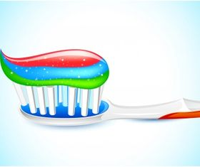 Three color toothpaste vector graphic