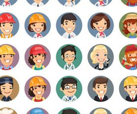 Colored People Avatars 12 vector set