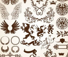 Heraldic Different Elements 2 vector