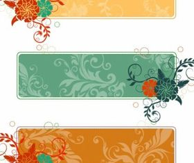 Retro Flower Banners Free vector
