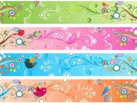 Retro Floral Banners Free vector