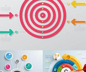 Target Infographics Backgrounds 3 set vector