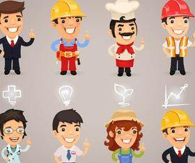 Cartoon Workers 4 vectors material