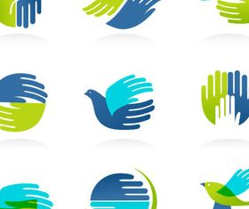 Logotypes with Hands design vectors