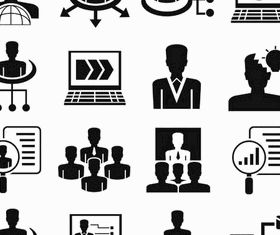 Black Business People Icons 4 vector graphic