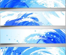 Blue Waves Banners Set vector