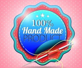 Hand made badge Free set vector