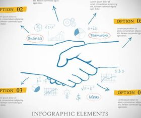 Infographics with Hands vectors material