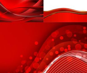 Red Waves Backgrounds set vector