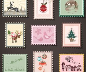 Mail stamp collection Free vector