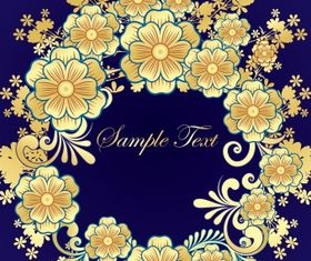 Golden flower frame vectors
