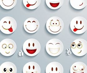 White cricle emoticon set vector