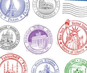Stamps with Landmarks vector graphics