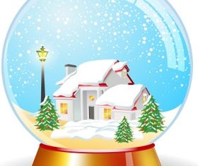 Crystal magic globe with house vector graphics