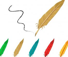 Feather pen collection Free shiny vector
