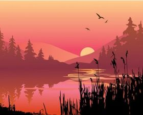 lake at dusk set vector