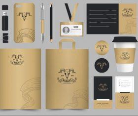 Branding identity sets bull skull vector