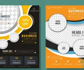 Corporate flyer templates checkered decor elegant contemporary vector